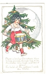 Christmas Postcard Little Girl with Christmas Tree