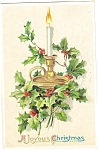 Christmas Postcard Candle and Holly 1911