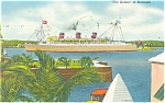 The Queen of Bermuda Postcard 1955