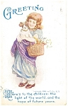 Adorable Little Victorian Girl with Puppy Postcard 1908