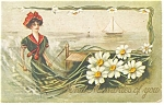 Click here to enlarge image and see more about item p11765: Victorian Lady and Sailboat Postcard p11765 1910