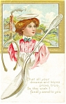 Victorian Lady Horseshoe and Spoon Postcard p11766 ca 1910