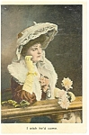 Victorian Lady with Hat Postcard ca 1910