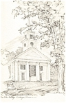 Meetinghouse Sketch,Old Sturbridge Village, MA Postcard