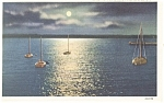 Geneva  NY Moonlight on Seneca Lake Postcard p11891