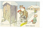 Click here to enlarge image and see more about item p12106: Traffic Problem Outhouse Artist Signed Postcard