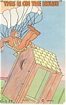 Click here to enlarge image and see more about item p12114: Parachutist on The Outhouse Postcard 1946