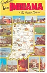 Click here to enlarge image and see more about item p12150: Indiana State Map and 15 Views Postcard 1965