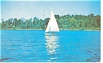 Sailboat on Lake Cataract Indiana Postcard p12152 1956