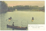 Auburndale, MA Canoeing on the Charles Postcard 1911