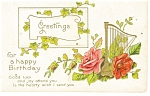 Happy Birthday Card Vintage Postcard p12354