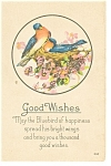 Good Wishes, Bluebirds Postcard