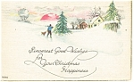 Christmas Postcard Snow Scene1923
