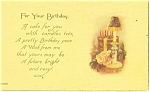 Click here to enlarge image and see more about item p12412: Birthday Postcard Cake and Candles
