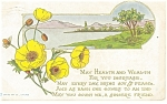 Click here to enlarge image and see more about item p12418: Best Wishes Postcard p12418 Lake Scene 1912