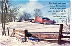Farm Scene Red Barn Postcard Psalm 98:2-4