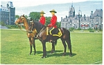 Click here to enlarge image and see more about item p12543: Canadian Mounties on Horseback Postcard
