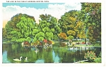 Boston MA Lake in Public Gardens Postcard p12623 1934