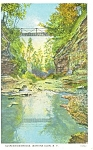 Suspension Bridge,Watkins Glen, NY, Postcard 1936