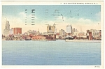 Buffalo NY Skyline from Harbor Postcard p12677 1936