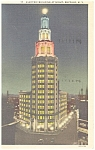 Buffalo NY Electric Bldg at Night Postcard p12679 1936
