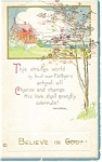 Click here to enlarge image and see more about item p12755: Believe in God John 14:1 Postcard