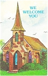 Click here to enlarge image and see more about item p12757: We Welcome You Church Postcard