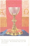 Click here to enlarge image and see more about item p12772: Holy Communion Notice Postcard 1973