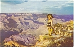 Click here to enlarge image and see more about item p12832: American Indian at Grand Canyon Postcard