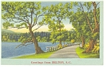 Belton, SC Wooded Road and Lake Postcard