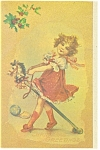 Victorian Girl With Hobby Horse Christmas Postcard