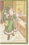 Click here to enlarge image and see more about item p13158: Victorian Santa in Green Suit Christmas Postcard