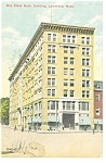 Click here to enlarge image and see more about item p13165a: Lawrence, MA, Bay State Bank Bldg Postcard p13165a 1911