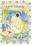 Click here to enlarge image and see more about item p13224: Birthday Card Featuring a Frog Postcard p13224