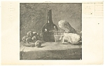 Still Life with Plums, Chardin Postcard 1968