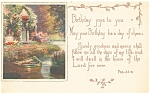 Click here to enlarge image and see more about item p13251: Birthday Postcard p13251 Garden Stream Scene