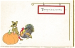 Click here to enlarge image and see more about item p13260: Thanksgiving Postcard Pilgrim Pumpkin Turkey 1914