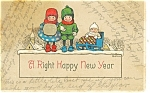 Click here to enlarge image and see more about item p13279: New Years Vintage Postcard Kids in Winter Gear