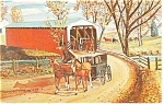 Click here to enlarge image and see more about item p13324: Covered Bridge Amish Carriage Postcard p13324  1976