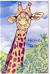 Click here to enlarge image and see more about item p13338: Giraffe saying Hello There Postcard