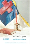 Click here to enlarge image and see more about item p13579: We Miss you,come and learn with us Postcard