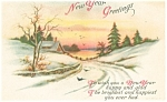 Click here to enlarge image and see more about item p13598: New Years Greetings  Postcard 1920