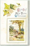 Click here to enlarge image and see more about item p13600: With Best New Years Wishes  Postcard 1912