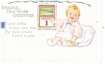 Click here to enlarge image and see more about item p13606: Sincere New Year Greetings Postcard p13606