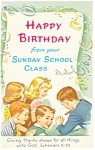 Happy Birthday From Sunday School Postcard