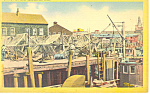 Drying Fishing Nets Gloucester MA Postcard p13820