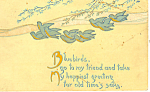 Bluebirds Go To My Friends Postcard 1918