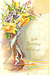 Click here to enlarge image and see more about item p13939: Birthday Postcard With Vase of Flowers p13939