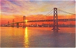 San Francisco  Bay Bridge at Sunset Postcard