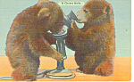Click here to enlarge image and see more about item p14705: A Cheery Hello Bears  Postcard p14705